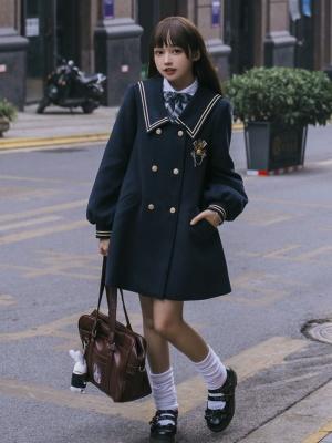 Hoshizawa River JK Navy Collar Long Sleeves Lolita Plus Velvet Coat