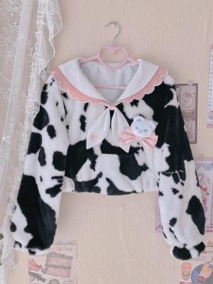 Cow Sweetheart JK Navy Collar Long Sleeves Plush Short Outerwear