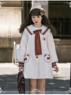 Teddy Park Navy Collar Long Sleeves Woolen Lolita Coat