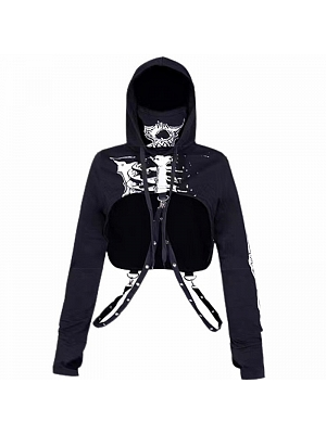 Punk Skeleton Long Sleeves Hooded Cropped Top by FANLOVE