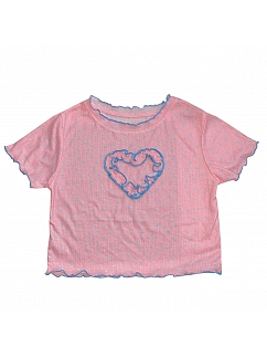 Sweet Round Neckline Short Sleeves Heart-shaped Top by FANLOVE