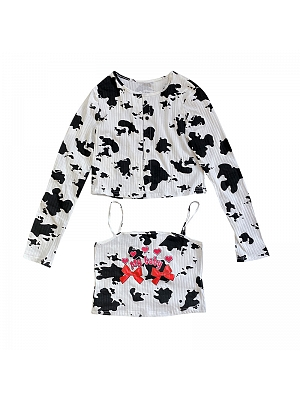 Y2K Cow Long Sleeves Short Outerwear / Cami Top Set by FANLOVE