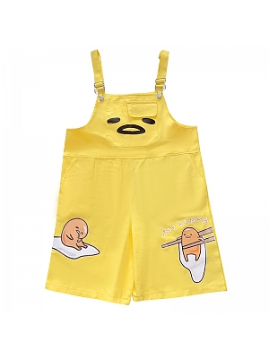 Cute Egg Yolk Overall Shorts by FANLOVE