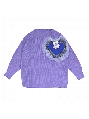 Y2K Round Neckline Long Sleeves Heart-shaped Ruffled Sweater with Brooch