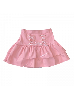 Y2K Lace-up Front PU Leather Tiered Skirt