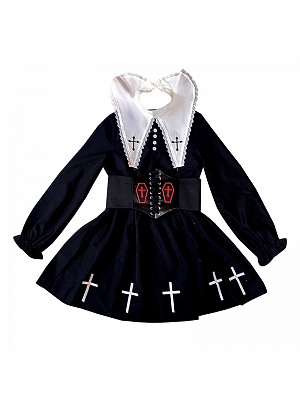 Gothic Removable Pointed Collar Long Sleeves Dress with Waistbelt