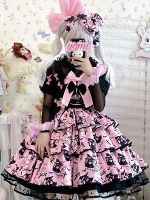 Black Cat Elena Halloween Square Neckline Tiered Flounce Skirt Lolita Dress JSK
