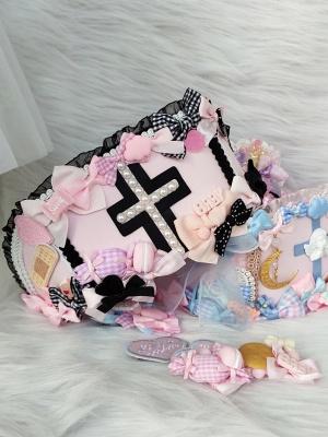 Black and Pink Handmade Sweet Lolita Nurse Hat by Flounder