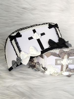 Nun Black and White Handmade Sweet Lolita Nurse Hat by Flounder