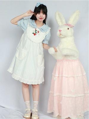 Moon Rabbit Round Neckline Emboridered Lolita Overall Dress by Four Daughters