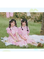 Sweet Peter Pan Collar Short Puff Sleeves Fake Two-pieces Sweet Lolita Dress OP by Four Daughters