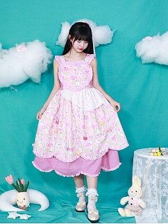 Cat Print Square Neckline Sweet Lolita Dress JSK by Four Daughters