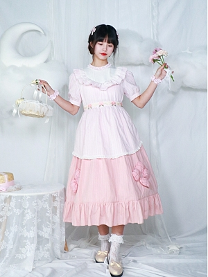 Round Neckline Short Puff Sleeves Sweet Lolita Dress OP by Four Daughters