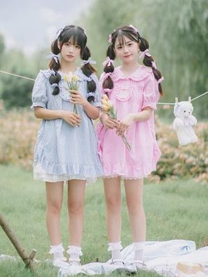 Princess Plaid Peter Pan Collar Short Puff Sleeves Lolita Short Dress by Four Daughters