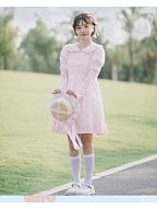 Small Daisy Print Peter Pan Collar Short Sleeves Sweet Lolita Dress OP by Four Daughters