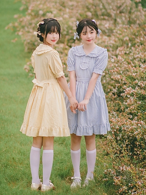 Plaid Peter Pan Collar Short Sleeves Sweet Lolita Dress OP by Four Daughters