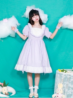 Square Neckline Short Puff Sleeves Sweet Lolita Dress OP by Four Daughters