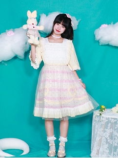 Square Neckline 3/4 Sleeves Sweet Lolita Dress OP by Four Daughters