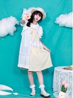 Peter Pan Collar Short Puff Sleeves Cropped Cape / Strapless Dress by Four Daughters