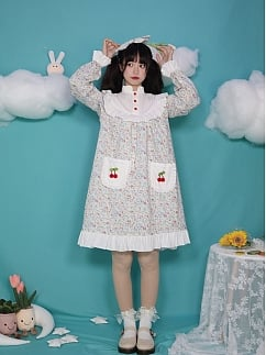 The Wizard of Oz High Neck Long Sleeves A-line Doll Lolita Dress OP / Overall Skirt Set by Four Daughters