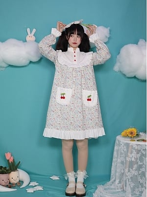 The Wizard of Oz High Neck Long Sleeves Floral Print Doll Lolita Dress OP / Overall Skirt Set by Four Daughters