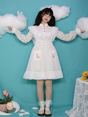 The Wizard of Oz High Neck Long Sleeves Floral Print Lolita Dress OP / Overall Skirt Set by Four Daughters