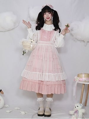 Elf in the Flower Sweet Lolita Dress Matching Overall Skirt by Four Daughters