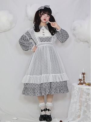 Sweetheart Girl Peter Pan Collar Long Sleeves Sweet Lolita Dress OP  by Four Daughters