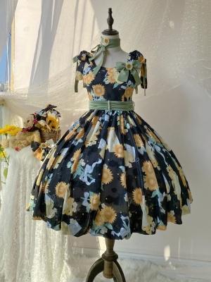 Quenched Sunflower Square Neckline Sweet Lolita Dress JSK
