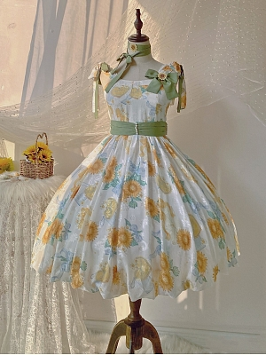 Quenched Sunflower Sweet Lolita Dress Matching Choker
