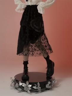 Dark Vintage Velvet Asymmetrical Lace Skirt by FROGLET