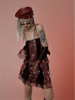 Two Ways Print Mesh Self-tie Cami Dress by FROGLET