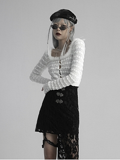 White Square Neckline Long Sleeves Heart-shaped Hollow Out Lace Mesh Top