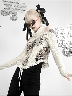Pile Collar Open Shoulder Long Sleeves Hollow Out Lace Mesh Drawstring Top by FROGLET