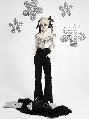 Vintage Y2K Black Corduroy Double Slit High Waist Flared Pants by FROGLET