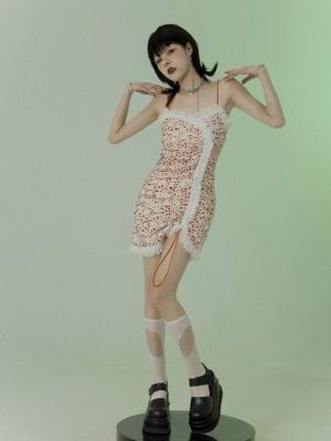 Vintage Floral Print Lace Trim Mini Cami Dress by FROGLET