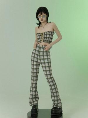 Y2K Vintage High Waist Plaid Flared Pants by FROGLET