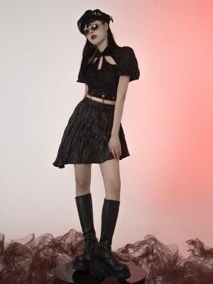 Taboo Girl Y2K Elastic Waist Asymmetrical Skirt by FROGLET