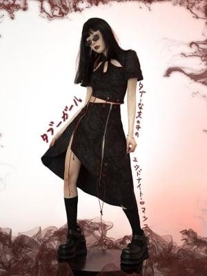Taboo Girl Y2K Short Sleeves Hollow Top / Asymmetrical Skirt by FROGLET