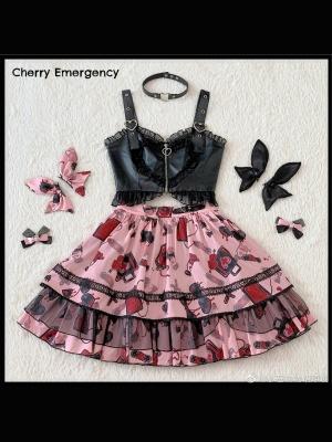Cherry Emergency Lolita PU Top / A-line Skirt Set by Freesia Tale