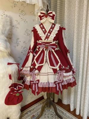 God Strawberry V-neck Wide Sleeves Wa Lolita Dress OP Full Set