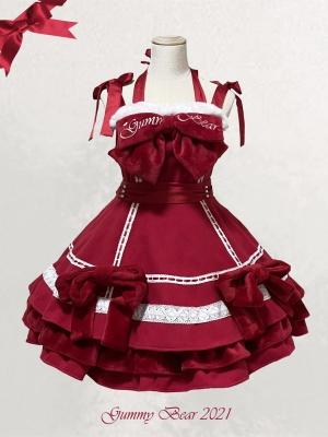Passionate Love Square Neckline Halter Sweet Lolita Dress JSK and KC Set