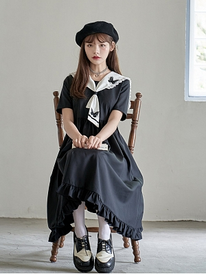 Spring Death Day Navy Collar Short Sleeves Dress with Bow Tie by HanasakiDeer