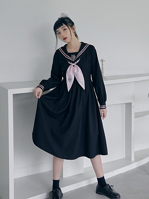 Rose Twine Navy Collar Long Sleeves Dress by HanasakiDeer