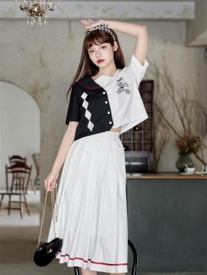Hat Trick Navy Collar Short Sleeves Top / Skirt Sets by HanasakiDeer