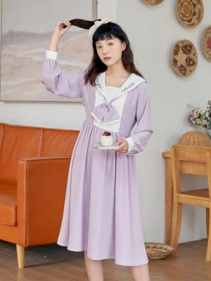 Dreaming Lithospermum JK Navy Collar Long Sleeves Embroidered Dress by HanasakiDeer