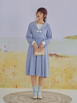 Silver Moon JK Navy Collar Long Sleeves  Dress by HanasakiDeer