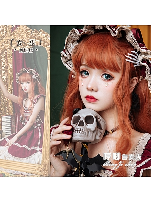 Witch Orange Long Curly Synthetic Lolita Wig by Hengji