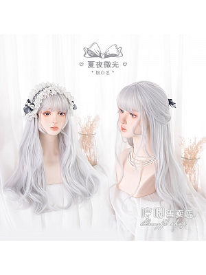 Summer Night Shimmer Big Wave Long Curly Synthetic Lolita Wig with Bangs by Hengji