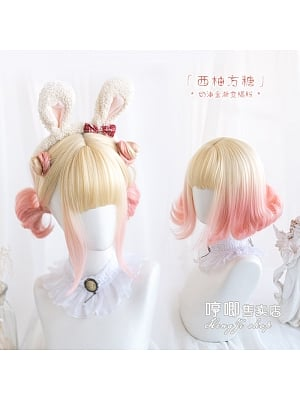 Grapefruit Sugar Cubes Gradient Short Curly Synthetic Lolita Wig with Bangs by Hengji